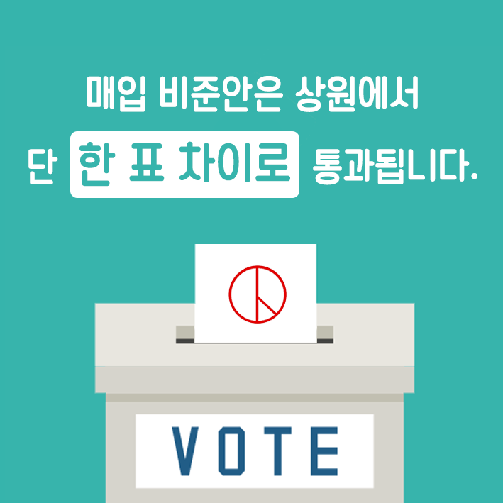 매입 비준안은 상원에서 한 표 차이로 통과됩니다.(vote)