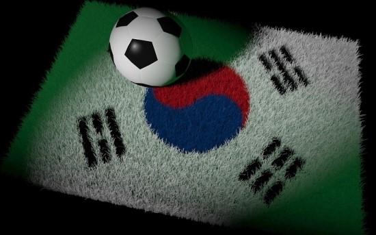 태극기위에 축구공