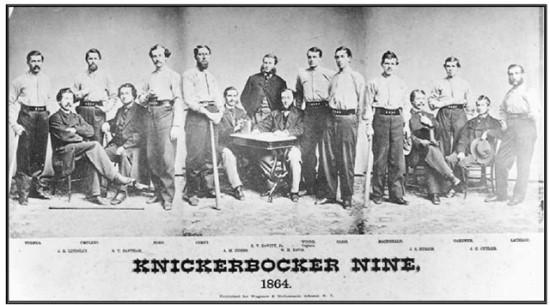 1864년 '뉴욕 니커보커스(New York Knickerbockers)'라는 최초의 조직적인 야구팀 흑백사진
