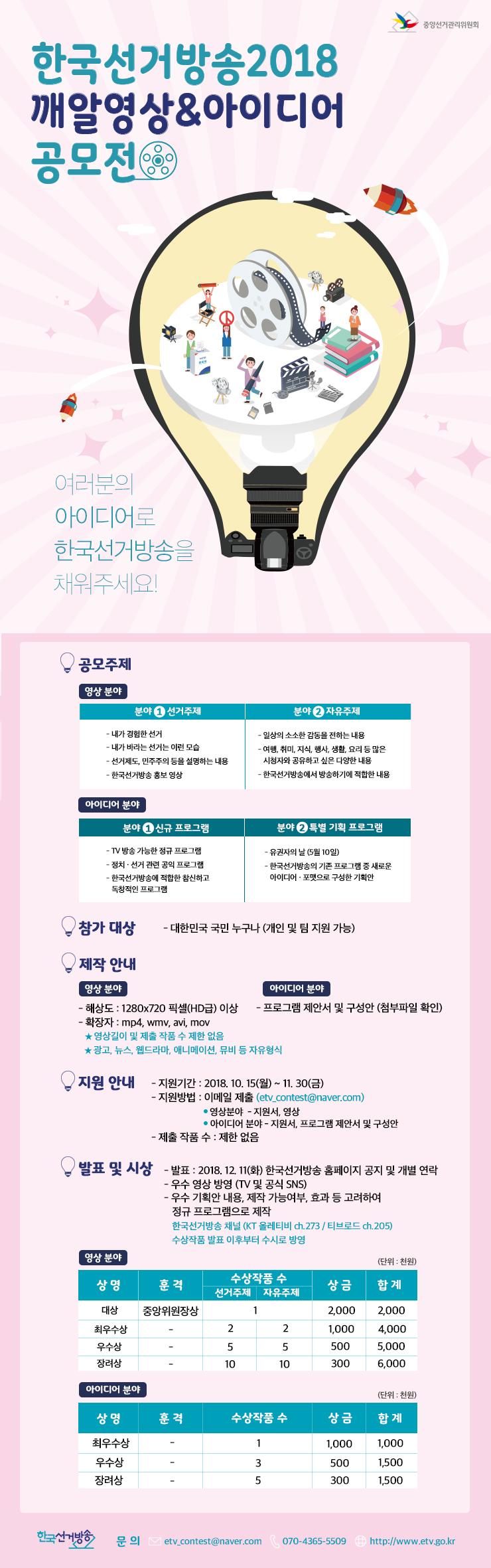 2018년 하반기 한국선거방송 깨알영상 및 아이디어 공모전이 개최됩니다.